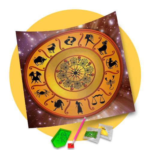 Tela Mandala dos Signos - Pintura com Diamantes