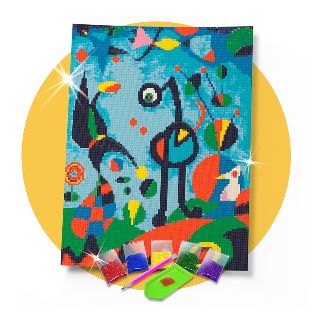 Kit Pintura com Diamantes | Joan Miró - O Jardim 30x42cm - Diamante Redondo | Diamond Painting 5D DIY