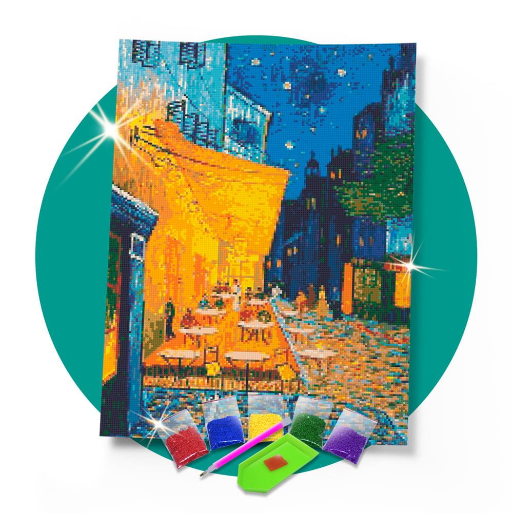 Kit Pintura com Diamantes   Van Gogh - Terraço do Café 42x60cm - Diamante Redondo   Diamond Painting 5D DIY