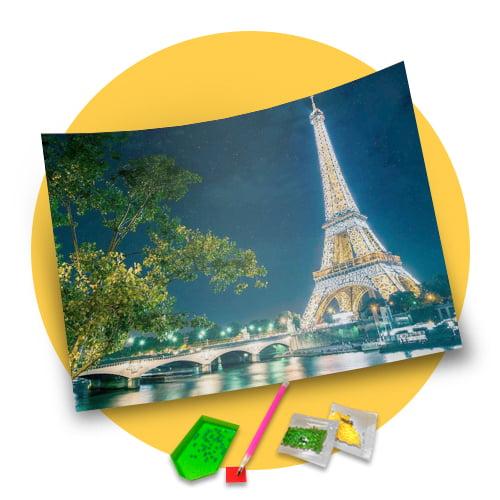 Pintura Com Diamantes - Tela Paris com Paisagem - 38 x 48 cm - Diamante Redondo