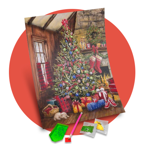 Tela  Árvore de Natal - Pintura com Diamantes
