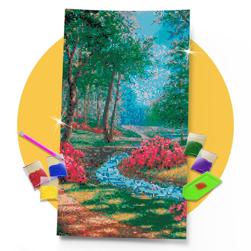 Kit Pintura com Diamantes | Tela Floresta Serena - 30 x 57 cm - Diamante Redondo | Diamond Painting 5D DIY
