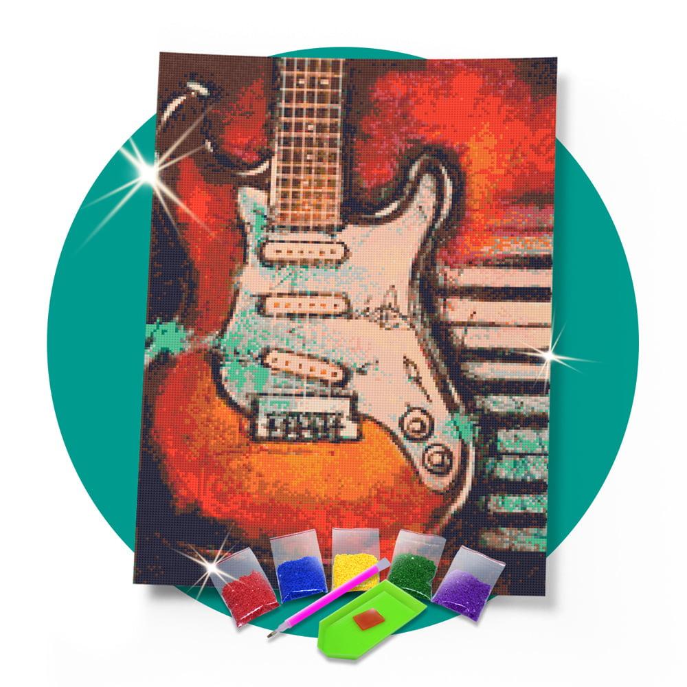 Kit Pintura com Diamantes | Tela Guitarra Musical  - 42 x 60 cm - Diamante Redondo | Diamond Painting 5D DIY
