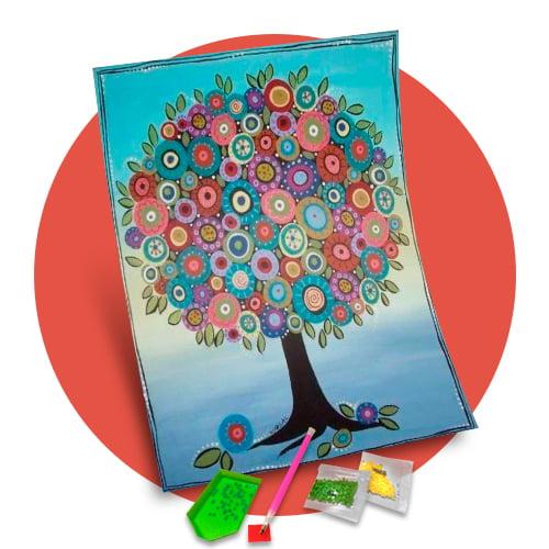 Pintura Com Diamantes - Tela Árvore da Alegria - 38 x 48 cm - Diamante Redondo