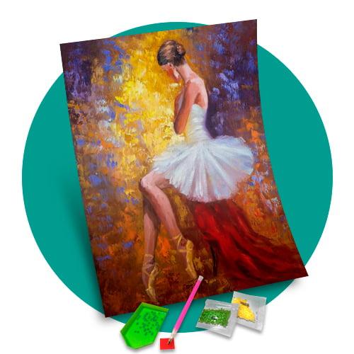 Pintura Com Diamantes - Tela Bailarina- 38 x 48 cm - Diamante Quadrado