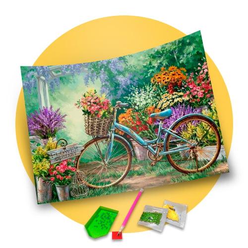 Pintura Com Diamantes - Tela Bicicleta nas Flores - 48 x 38 cm