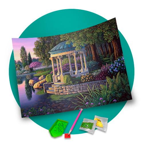 Pintura Com Diamantes - Tela Coreto no Bosque - 48 x 38 cm