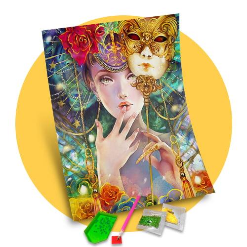Pintura Com Diamantes - Tela Máscaras Veneza - 38 x 48 cm - Diamante Redondo