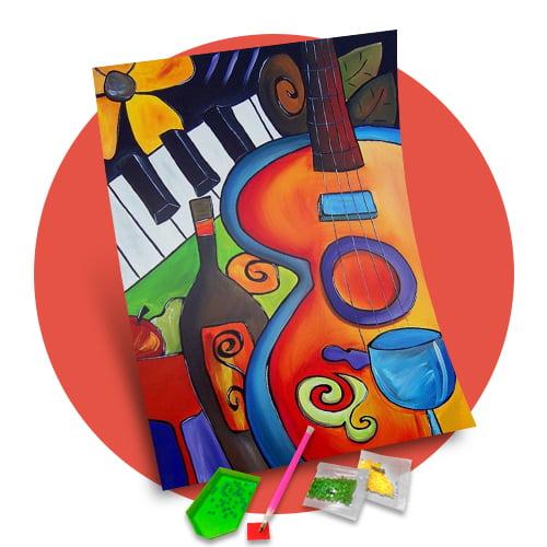 Pintura Com Diamantes - Tela Musical - 38 x 48 cm - Diamante Redondo