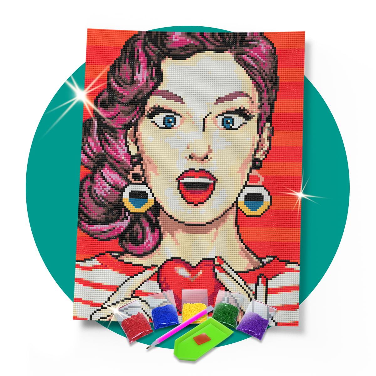 Kit Pintura com Diamantes | Tela Garota Pop - 30 x 42 cm - Diamante Redondo | Diamond Painting 5D DIY