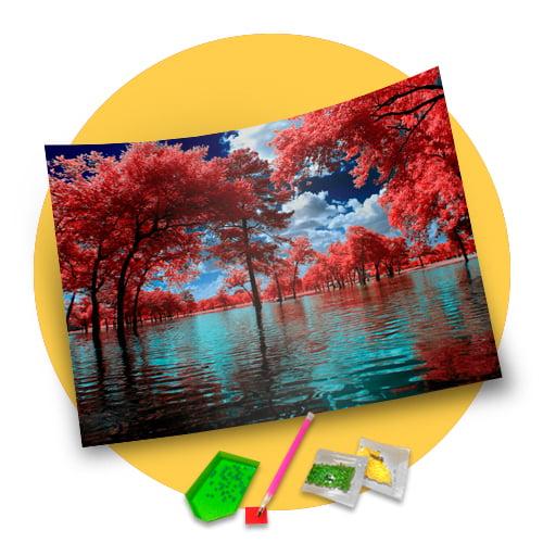 Pintura Com Diamantes - Tela Lago Florido - 38 x 48 cm - Diamante Redondo