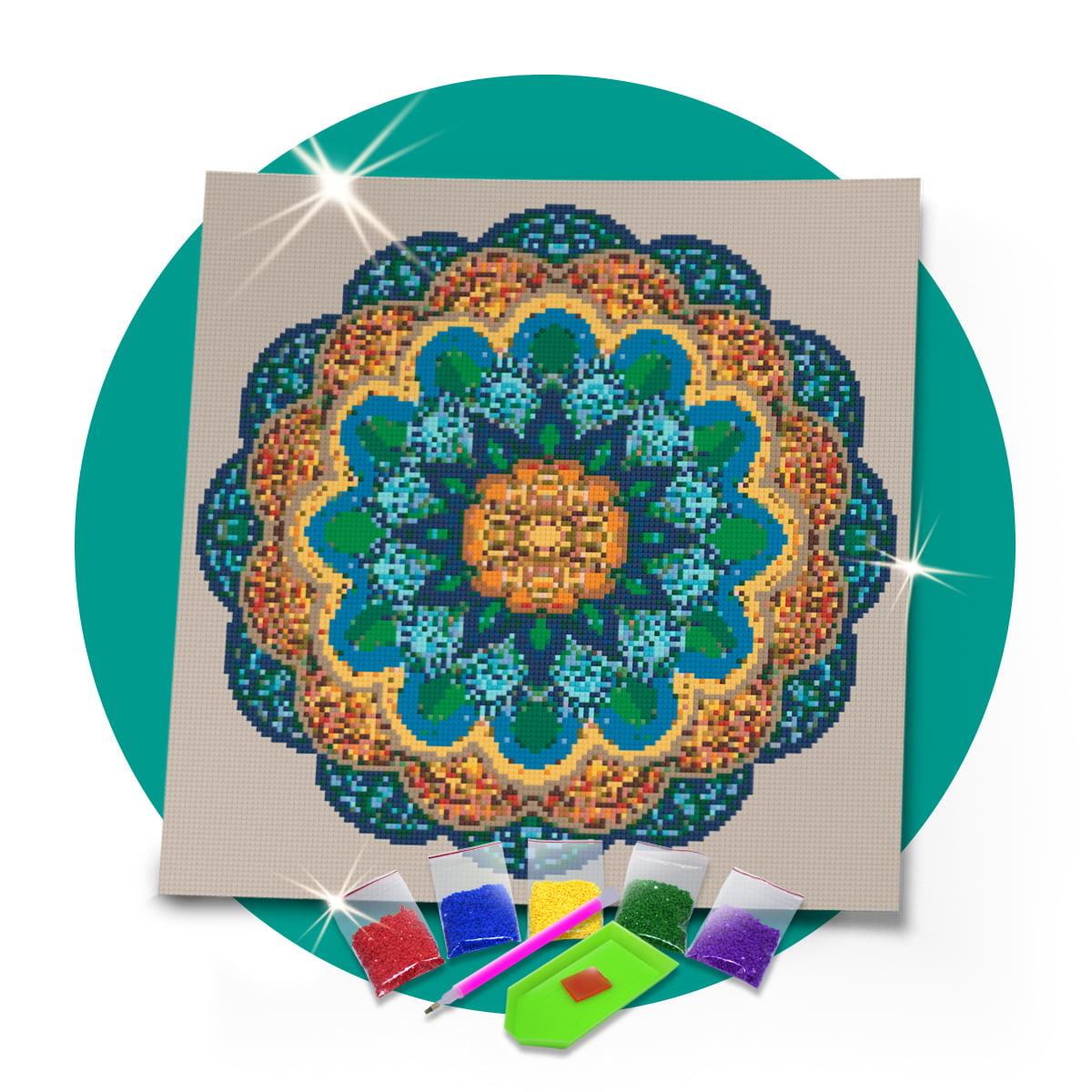 Kit Pintura com Diamantes   Tela Mandala Soberana - 40 x 40 cm - Diamante Redondo   Diamond Painting 5D DIY