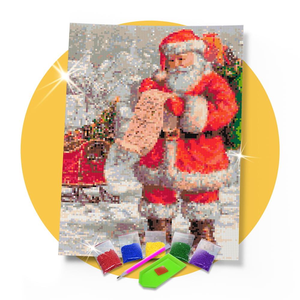 Kit Pintura com Diamantes   Cartinha do Papai Noel 30x42cm - Diamante Redondo   Diamond Painting 5D DIY