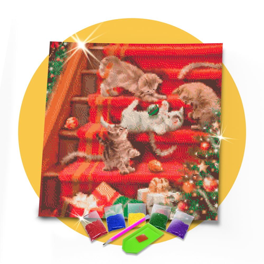 Kit Pintura com Diamantes | Felinos na Escada 45x45cm - Diamante Redondo | Diamond Painting 5D DIY
