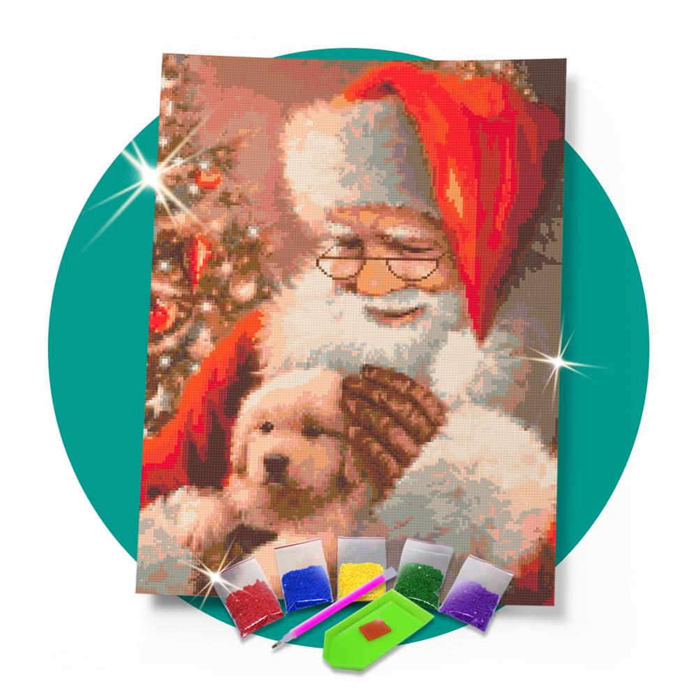 Kit Pintura com Diamantes | Papai Noel com Doguinho 42x60cm - Diamante Redondo | Diamond Painting 5D DIY