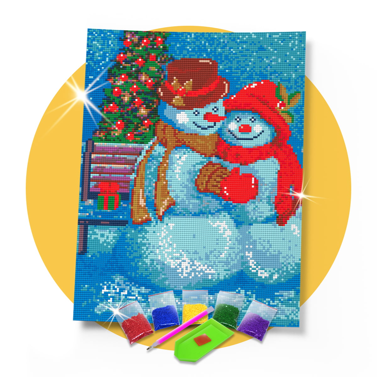 Tela Bonequinhos Felizes - 30 x 42 cm - Diamante Redondo