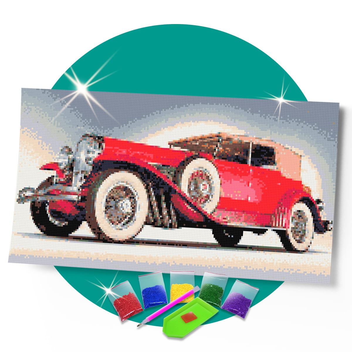 Kit Pintura com Diamantes | Rolls Royce Vermelho 57x30cm - Diamante Redondo | Diamond Painting 5D DIY