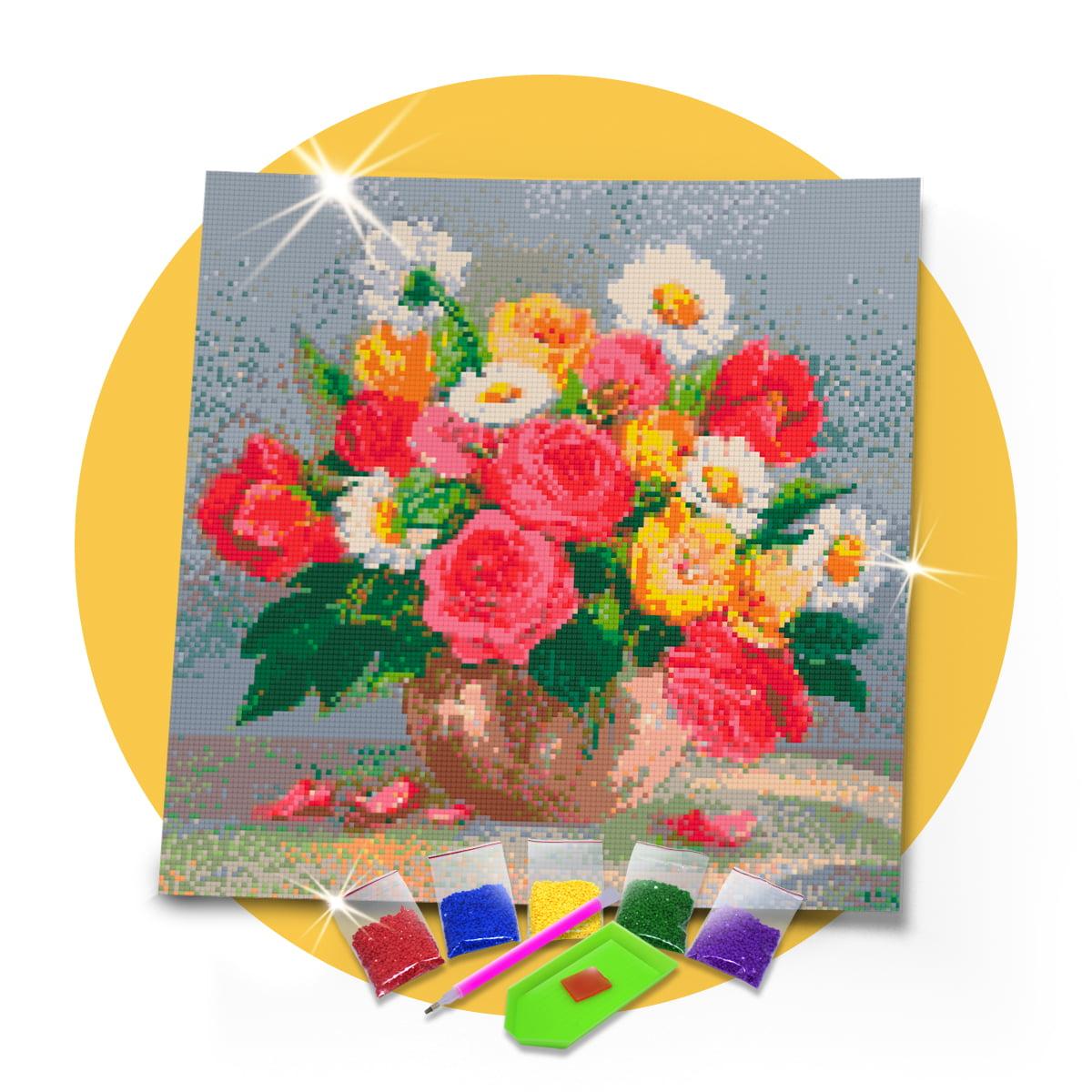 Kit Pintura com Diamantes | Tela Arranjo de Flores 40 x 40 cm - Diamante Redondo | Diamond Painting 5D DIY