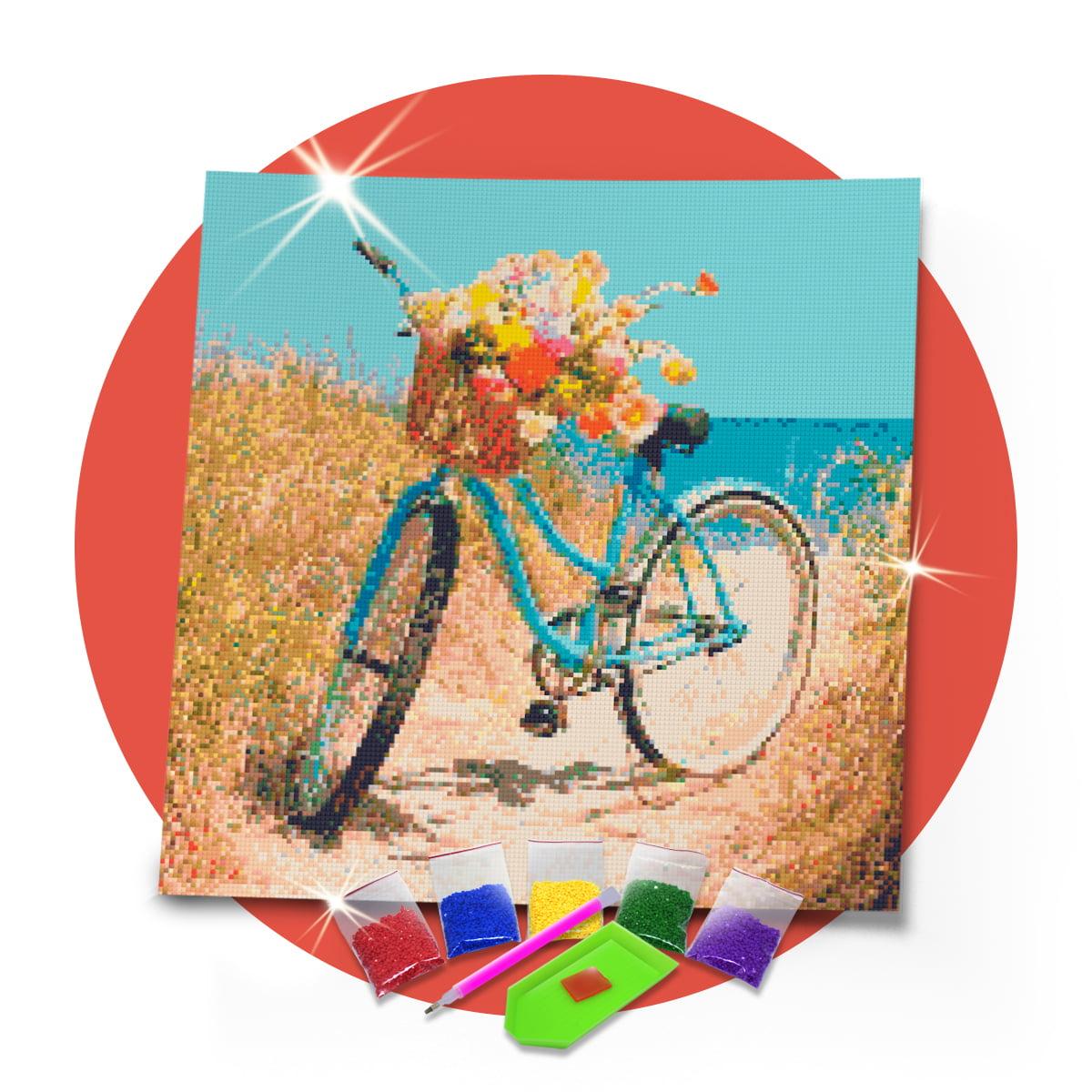 Kit Pintura com Diamantes | Tela Bicicleta na Praia - 45 x 45 cm - Diamante Redondo | Diamond Painting 5D DIY