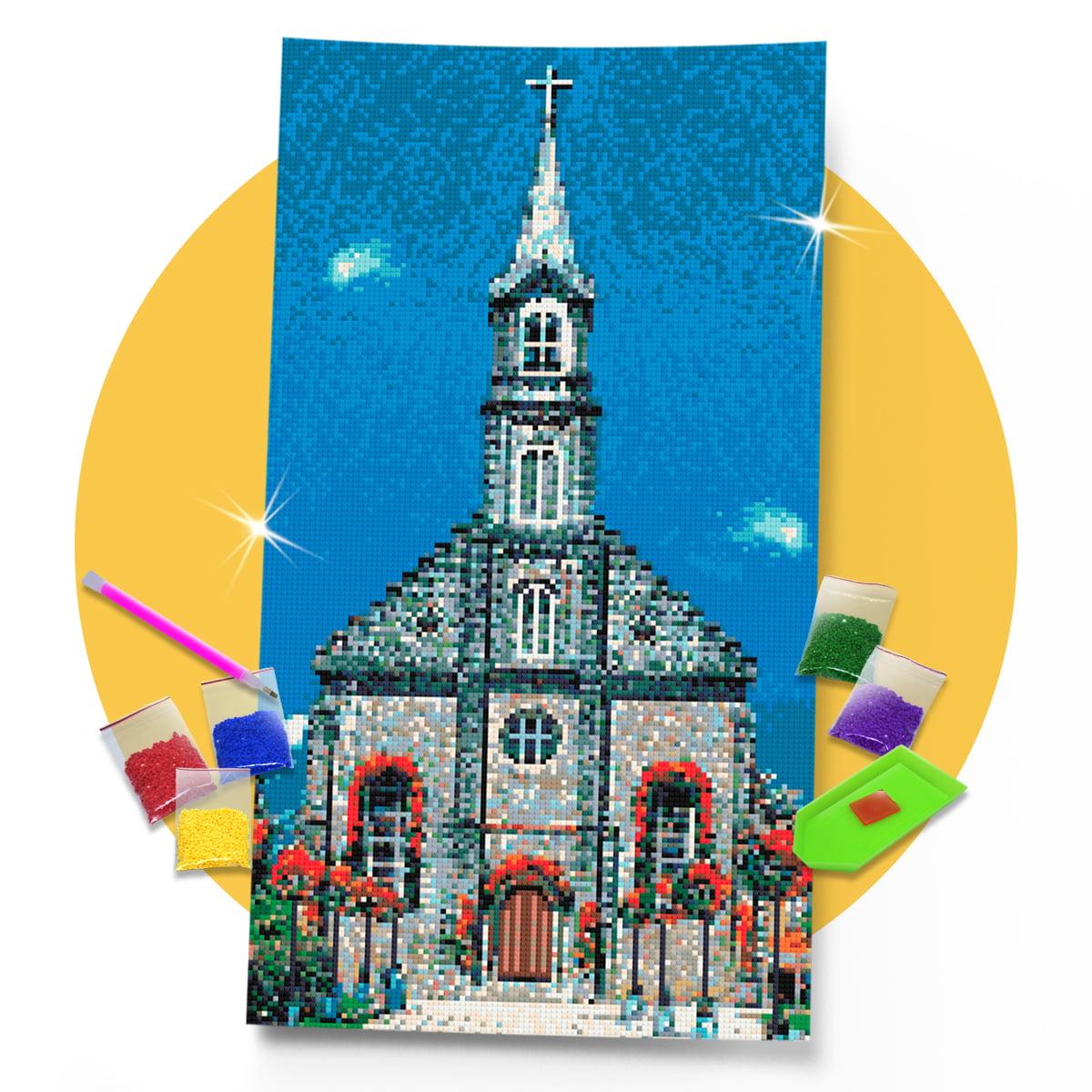 Kit Pintura com Diamantes | Tela Igreja Matriz Gramado - 30 x 57 cm - Diamante Redondo | Diamond Painting 5D DIY