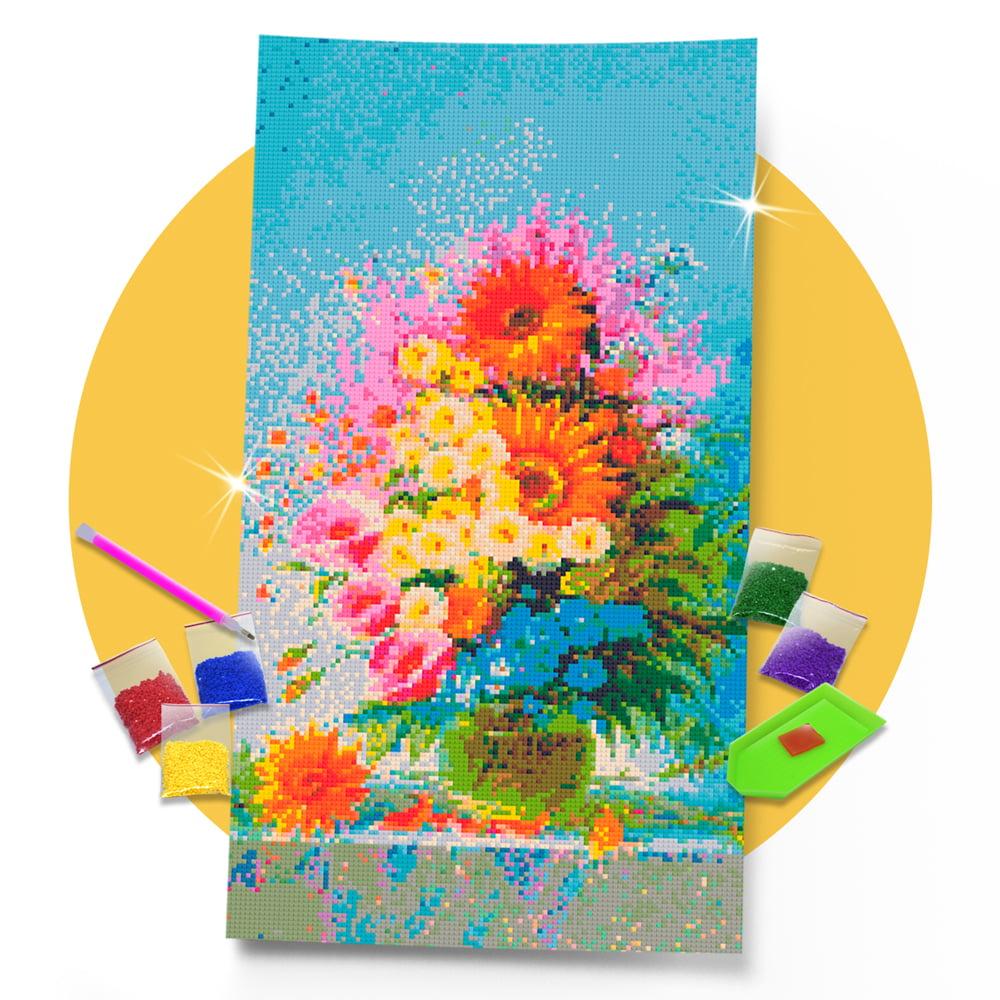 Kit Pintura com Diamantes | Tela Vaso de Flores Silvestres - 30 x 57 cm - Diamante Redondo | Diamond Painting 5D DIY
