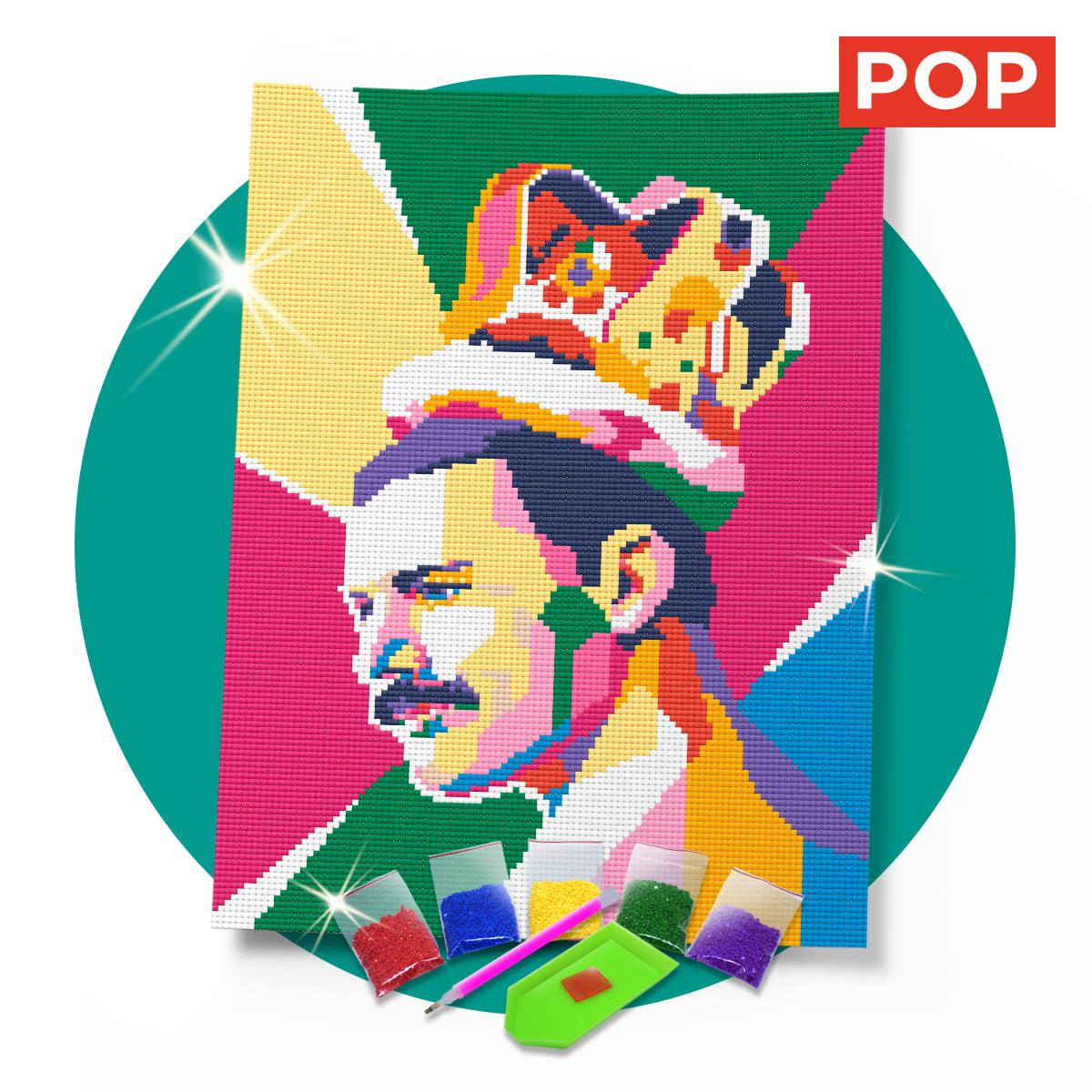 Kit Pintura com Diamantes   Tela Freddie Mercury - 30 x 42 cm - Diamante Redondo   Diamond Painting 5D DIY