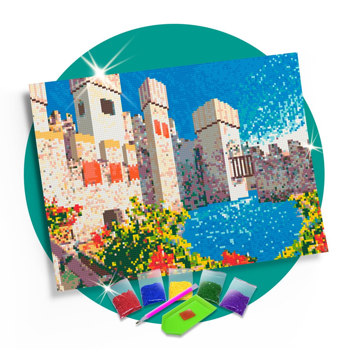 Kit Pintura com Diamantes | Tela Muralhas com Jardim - 42 x 30 - Diamante Redondo | Diamond Painting 5D DIY