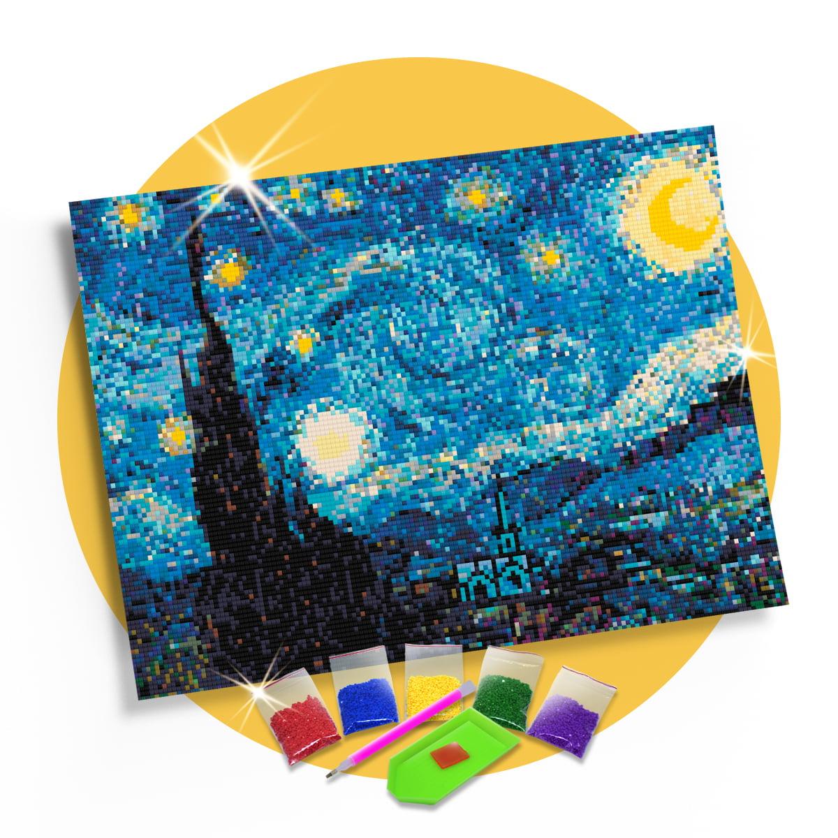 Kit Pintura com Diamantes | Tela Noite Estrelada - 42 x 30 cm - Diamante Redondo | Diamond Painting 5D DIY