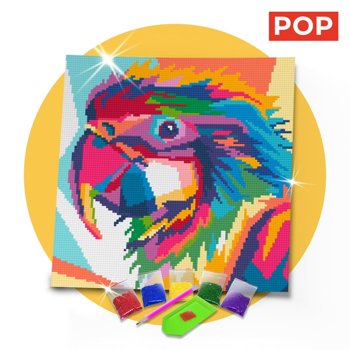 Tela Papagaio Colorido 30 x 30 cm - Diamante Redondo