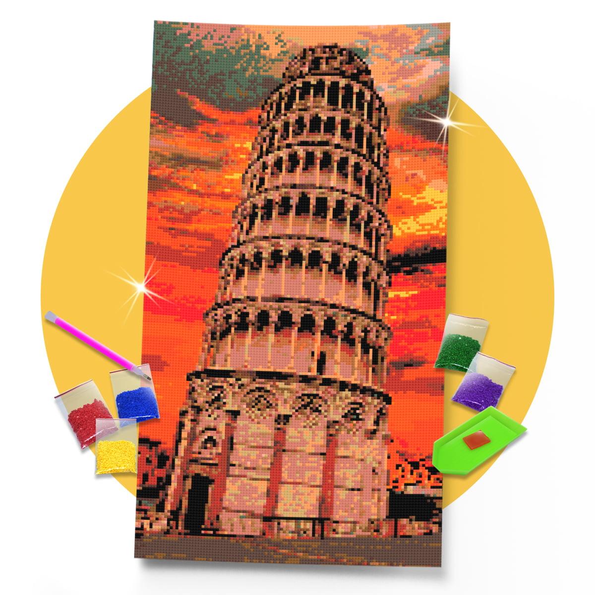 Kit Pintura com Diamantes | Tela Torre de Pisa - 30 x 57 cm - Diamante Redondo | Diamond Painting 5D DIY