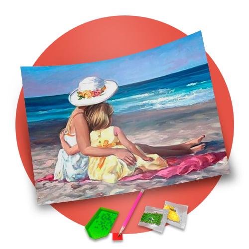Pintura Com Diamantes - Tela Amor Perfeito - 38 x 48 cm - Diamante Redondo