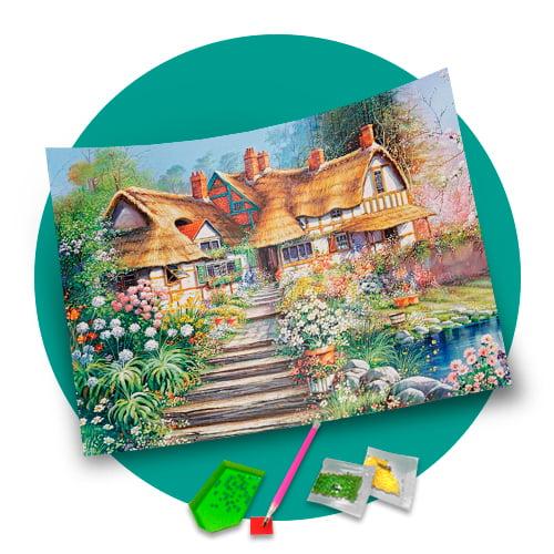 Pintura Com Diamantes - Tela Casa Com Jardim - 48 x 38 cm