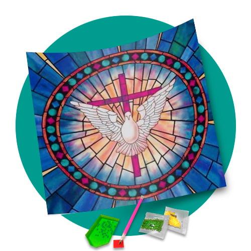 Pintura Com Diamantes - Tela Divino Vitral - 40 x 40 cm - Diamante Redondo