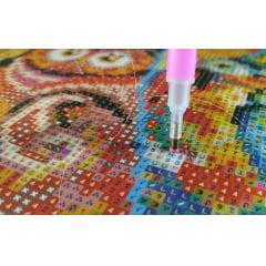 Tela  Boneco de Neve Feliz - Pintura com Diamantes