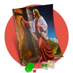 Tela  Jesus Bate a Porta - Pintura com Diamantes