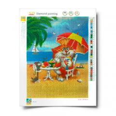 Tela Piquenique na Praia - Pintura com Diamantes
