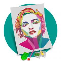 Tela Madona Colorida - Pintura com Diamantes