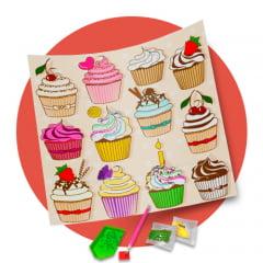 Tela  Cupcakes da Alegria- Pintura com Diamantes