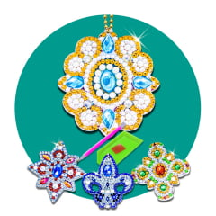 Kit Chaveiros em Pintura com Diamantes   Mandalas   Diamond Painting 5D DIY
