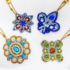 Kit Chaveiros em Pintura com Diamantes | Mandalas | Diamond Painting 5D DIY