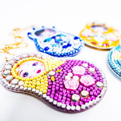 Kit Chaveiros em Pintura com Diamantes   Matrioskas   Diamond Painting 5D DIY