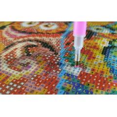 Pintura Com Diamantes - Corujas Místicas - 38 x 48 cm - Diamante Redondo