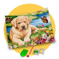 Pintura Com Diamantes - Tela Cãozinho na Natureza - 38 x 48 cm - Diamante Redondo