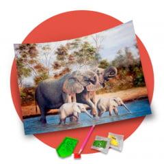 Pintura Com Diamantes - Tela Família de Elefantes - 48 x 38 cm - Diamante Redondo