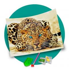 Pintura Com Diamantes - Tela Onça Pintada - 48 x 38 cm - Diamante Redondo