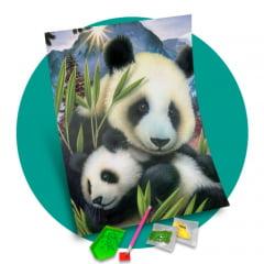 Pintura Com Diamantes - Tela Pandas Fofos - 38 x 48 cm