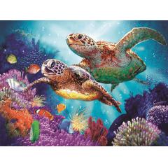 Pintura Com Diamantes - Tela Passeio das Tartarugas - 48 x 38 cm