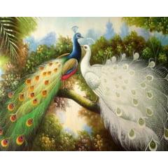 Pintura Com Diamantes - Tela Pavões em Harmonia - 100 x 75 cm