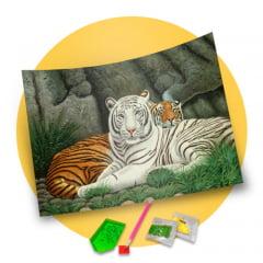 Pintura Com Diamantes - Tela Tigres Amigos - 48 x 38 cm
