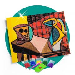Kit Pintura com Diamantes | Picasso - Chaleira e Crânio 60x42cm - Diamante Redondo | Diamond Painting 5D DIY